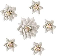 See all that north america's finest ceramic artists have to offer for your home. Amazon Com Alycaso 6 Pcs Set Ceramic Flower Wall Decor Artificial 3d Flower Wall Art For Living Room Home Hallway Bedroom Kitchen Farmhouse Bathroom Dining Room Magnolia White Set Furniture Decor
