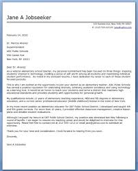 Elementary Teaching Cover Letter Samples 68 Images