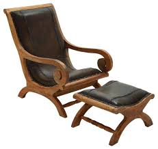 elegant style wood leather chair ottoman set of 2 home decor