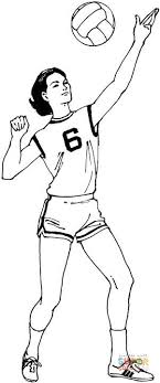 Volleyball Color Pages Woman Plays Volleyball Coloring Page Free Printable Coloring Pages