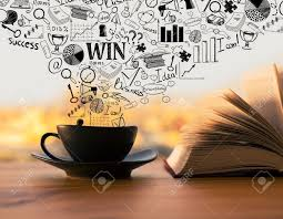 black coffee cup and open book with creative business sketch on bright blurry background success