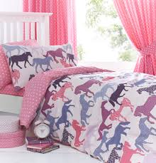 Pink And Blue Girls Bedroom Details About Gallop Pink Girls Horse Bedding Duvet Cover Set