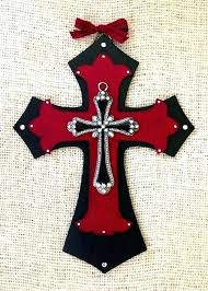 black cross wall decor wooden decorative crosses custom order hand painted red to hang on decorating zoom decorative crosses to hang on wall