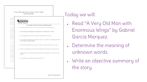 lesson and summarize ldquo a very old man enormous wings view resource copy resource id