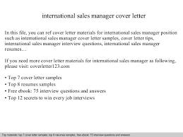 Sample Cover Letter Sales Manager International Sales Manager Cover Letter