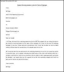 Best Solutions of Sample Former Employee Re mendation Letter Also Template