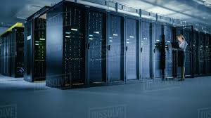 Data Rack Design In Data Center Female It Technician Stands Before Open Server D538_277_028