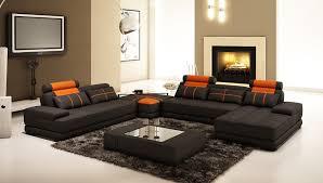 Leather Sofa Set Design Living Room Black Orange Leather Sofa With Cushions Plus
