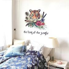 jungle wall stickers colorful feather tiger the king of the jungle wall stickers living room bedroom jungle wall stickers