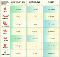The Shelf Life Of Food Chart Showing At A Glance The Shelf