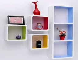 multicolor square box shape wall shelves 50