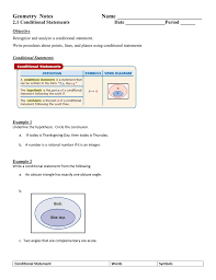Write A Conditional Statement From The Venn Diagram 2 1 Conditional Statements