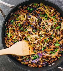 asian ground beef recipes. Brilliant Recipes Cooking A Fast And Easy Stir Fry Dinner With Ground Beef Cabbage Carrots Throughout Asian Ground Beef Recipes N