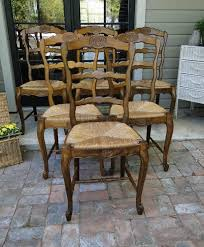 antique french oak dining chairs with ladder back and rush seats