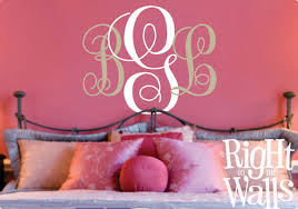 fancy monogram letter wall decal personalized family vinyl wall art on initial decals for