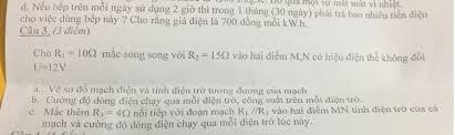 JIRG.K. BU qua mội sự mất mát vì nhiệt. d. Nếu bếp trên mỗi ngày sử dụng 2  giờ thì trong 1 tháng (30 ngày) phải trả bao nhiêu tiền điện cho