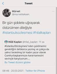 """Hilâl Kaplan on Twitter: """"Gün boyu böyle ölüm tehditleri aldım. Alıntı  tivitlerde hepsi duruyor. Şimdi bunlar kadına yönelik şiddete karşı, öyle  mi? #İstanbulSözleşmesi https://t.co/CimO0tNA0T… https://t.co/nRcF0I1b1f"""""""
