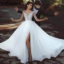 2019 Sexy Beach V <b>neck</b> Elegant Chiffon <b>Illusion</b> Bridal Gown ...