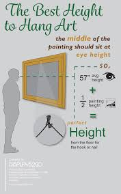 how to hang art at the right height on wall art hanging height with the best height for hanging art with infographic