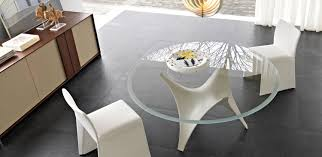 Glass Kitchen Tables Round Furniture Modern Grey Cabinets Glass Dining Table White Kitchen