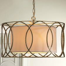 antique classic country iron and fabric pendant lighting 9105