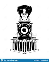 эскиз руки вычерченный старого локомотива в черноте изолированного
