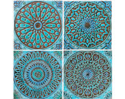 >bathroom wall decor ceramic tile moroccan decor moroccan moroccan decor set of 4 moroccan tiles moroccan wall art outdoor wall art moroccan tile ceramic tile moroccan garden art turquoise 30cm