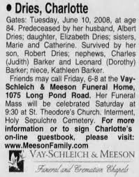 Obituary- Charlotte Dries (D&C, page 14) - Newspapers.com