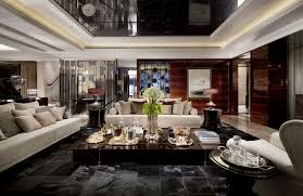 Luxury Living Room Decorating Divine Crystal Chandelier With Shade Lamps Over Classy Curved Back