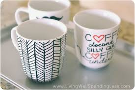 once your diy sharpie mugs are painted they simply go into the oven to set