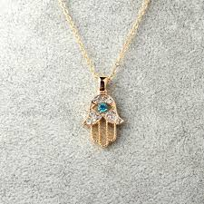 whole turkish crystal evil eye hand hamsa pendant necklace womens silver gold color jewelry hollow out clavicle link chains letter pendant necklaces