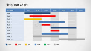 Flat Gantt Chart For Powerpoint Yearly Plan Slidemodel