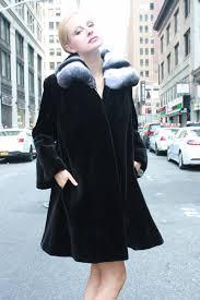 black sheared mink fur stroller chinchilla wing collar 98677