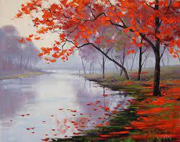 paintings nature trees autumn leaves ...