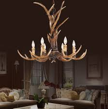 europe country 6 head candle antler chandelier american retro resin deer horn lamps home decoration lighting e14 110 240v in chandeliers from lights