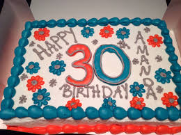 30th Birthday Sheet Cake For Her Teal And Coral And Gray Made