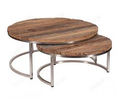 railway leather furniture nest of 2 round coffee tables