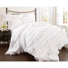 bedding waterfall ruffle comforter set lace bedding sets white ruffle bedding queen grey cream bedding frilly