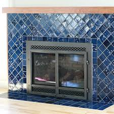 this fireplace features 4 4 tile placed on its edge to look like diamonds with 6 6 tile on the hearth it is glazed in our night sky glaze