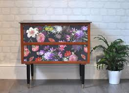 floral decoupage furniture. Upcycled Vintage Mid Century Modern Chest Of Drawers, Dutch \ Floral Decoupage Furniture