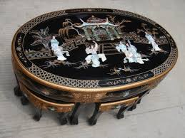 chinese black lacquer coffee table 6stool glasstop mop black laquer furniture