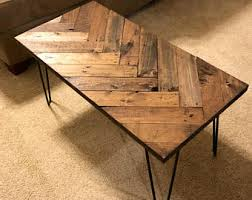 rustic pallet furniture. Herringbone Coffee Table With Hairpin Legs, Tables, Wooden Pallet Table, Sofa Rustic Furniture