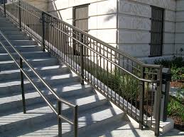 Stairs, Remarkable Outdoor Stair Railings Outdoor Wrought Iron Stair Railing  Black Stair Railings With Plant