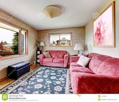 Living Room With Red Furniture House Interior Red Sofas With Blue Rug Stock Photo Image 41340827