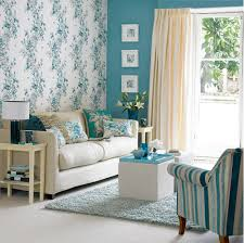 Teal Living Room Decorating Retro Floral Wallpaper Design Ideas For Small Living Room With