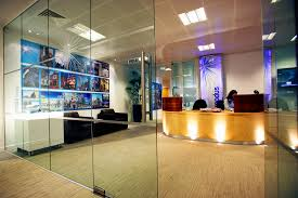 reception area glass door