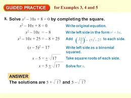 solve x2 4x 8 0 math guided practice for examples 3 4 and 5 8 mathematics