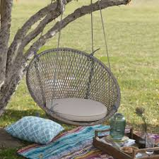 island bay saria resin wicker single swing chair with seat pad from hayneedle com