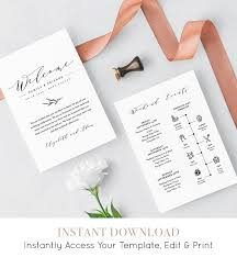 Wedding Itinerary Welcome Letter Template Printable