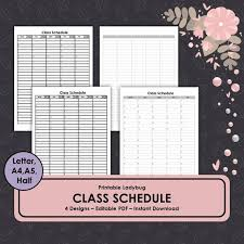 College Schedule Template Awesome Class Schedule Student Schedule Classroom Template Etsy
